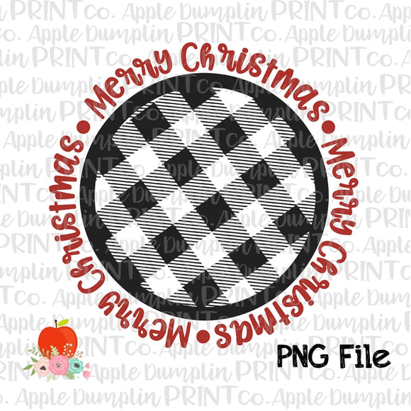 Merry Christmas Black White Plaid Frame Printable Design PNG