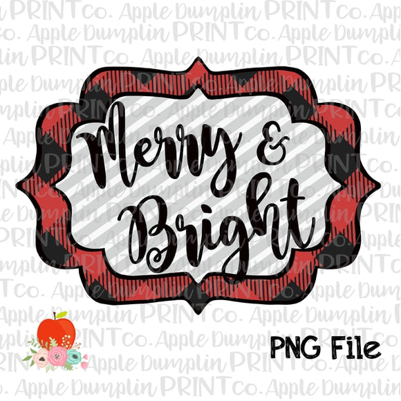 Merry and Bright Red Printable Design PNG