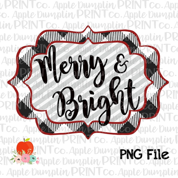 Merry and Bright White Printable Design PNG - embroidery-boutique