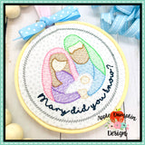 Mary Did You Know Nativity Sketch Ornament Embroidery Design, Embroidery