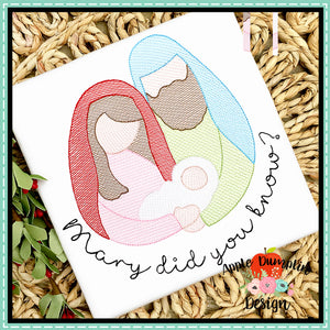 Mary Did You Know Nativity Sketch Embroidery Design, Embroidery