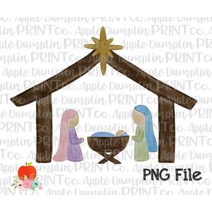 Nativity Watercolor Printable Design - embroidery-boutique