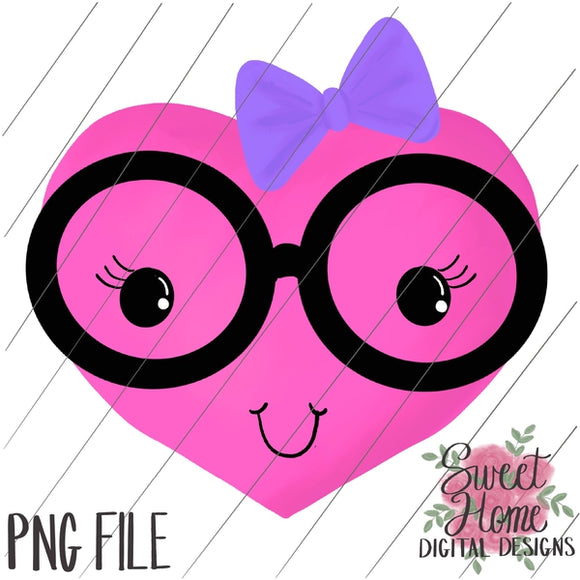 Nerdy Girl Heart Valentine Design PNG Printable, Printable