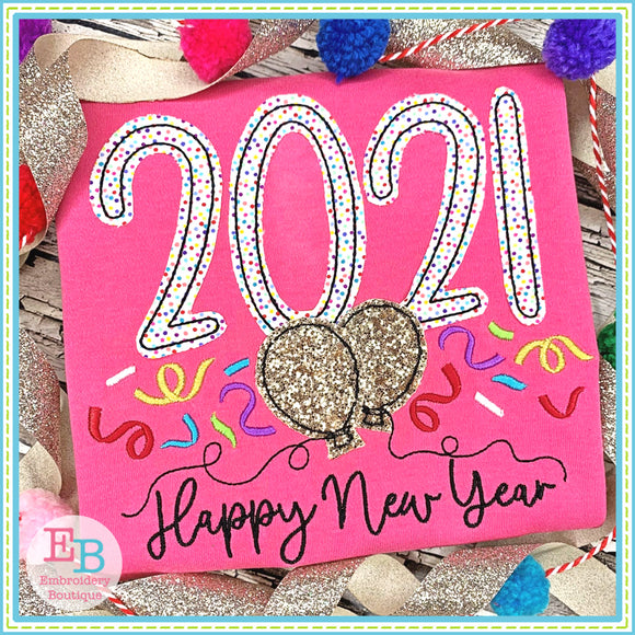 Happy New Year 2021 Bean Stitch Applique