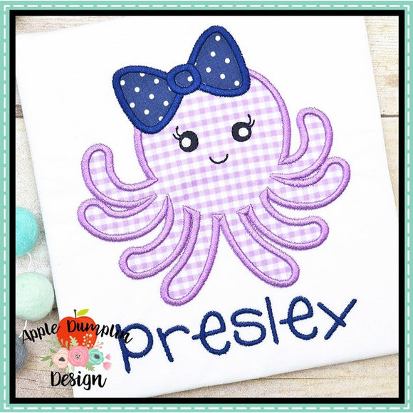 Octopus with Bow Satin Applique Design