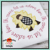 Oh Come Let Us Adore Him, Baby Jesus, Zigzag Applique Design