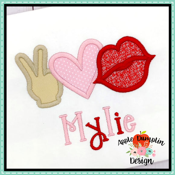 Peace Love Kiss Satin Applique Design, applique