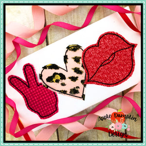 Peace Love Kiss Bean Stitch Applique Design, applique