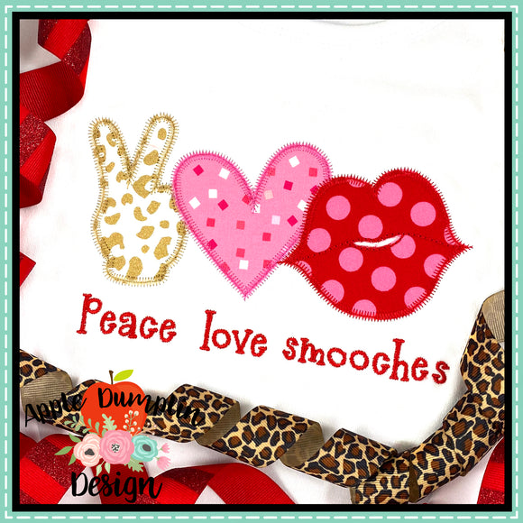 Peace Love Kiss Zigzag Applique Design, applique