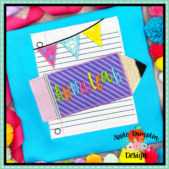 Pencil and Paper Zigzag Applique Design