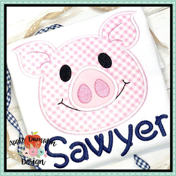 Pig Head Applique Design