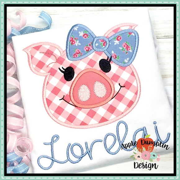 Pig with Bow Head Applique Design