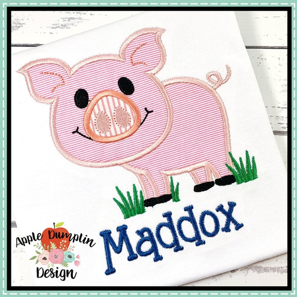 Pig in Grass Boy Applique Design