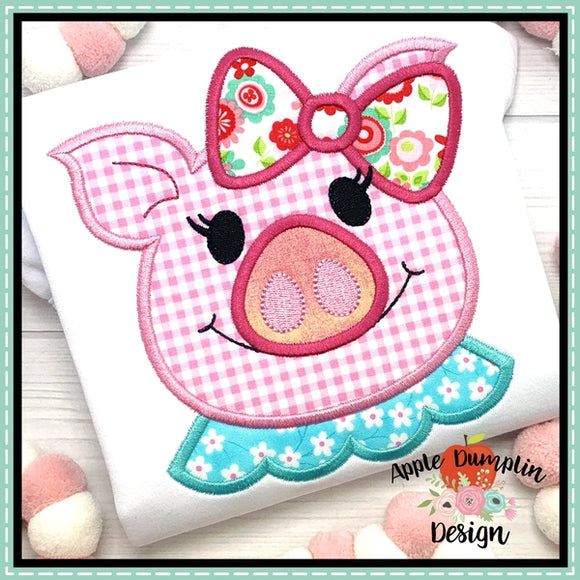 Pig with Ruffle Shirt Applique Design