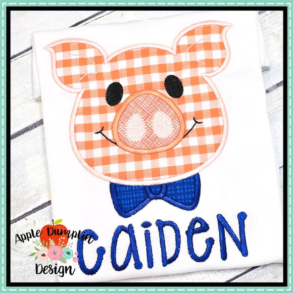 Pig with Bowtie Applique Design