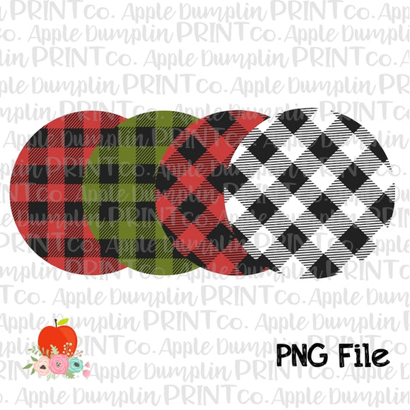 Plaid Circle Background Set Printable Design PNG - embroidery-boutique