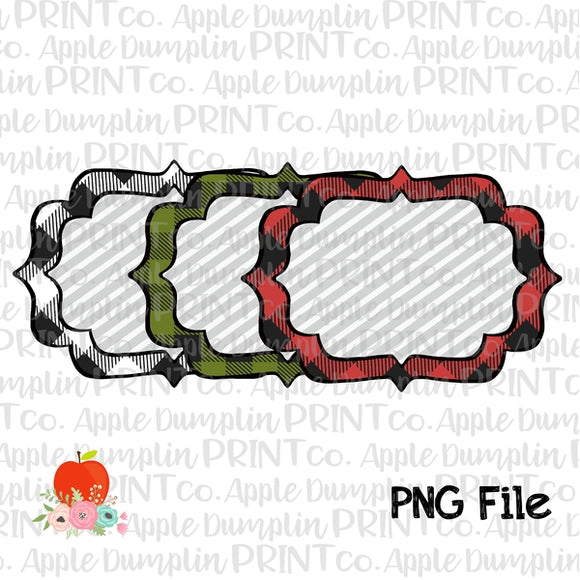 Plaid Frame Set Printable Design PNG - embroidery-boutique