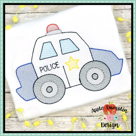 Police Car Sketch Embroidery Design