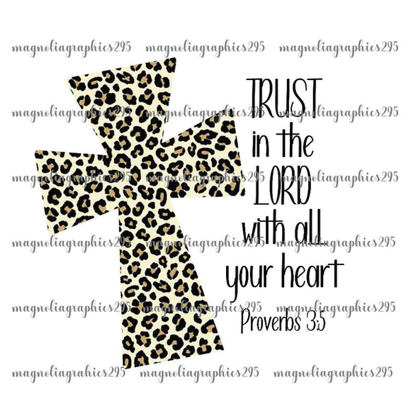 Trust in the Lord with all your heart Proverbs 3:5 Printable Design PNG, Printable
