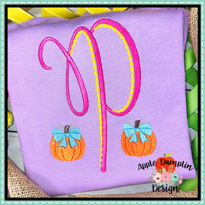 Pumpkin with Bow Mini Embroidery Design, Embroidery