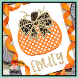 Pumpkin with Bow Satin Applique Design, Applique