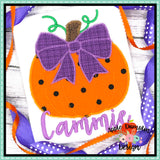 Pumpkin with Bow Zigzag Applique Design, Applique