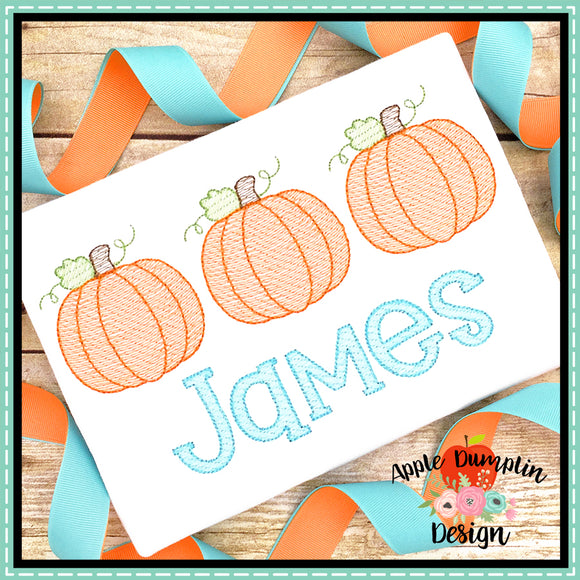 Pumpkin Trio Sketch Embroidery Design, Embroidery