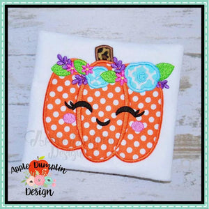 Pumpkin with Flowers Applique Design - embroidery-boutique