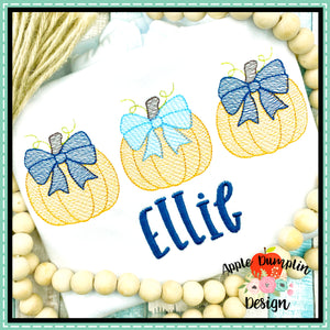 Pumpkin with Bow Trio Sketch Embroidery Design
