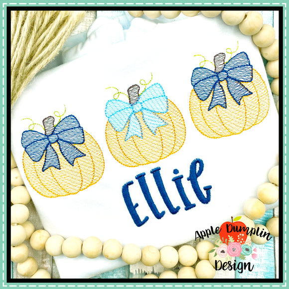 Pumpkin with Bow Trio Sketch Embroidery Design, Embroidery