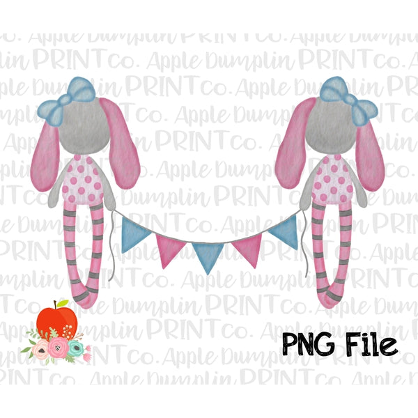 photograph about Watercolor Printable titled Rag Bunnies Banner Crimson Watercolor Printable Style PNG