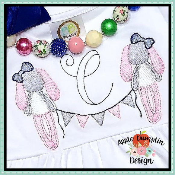 Rag Bunny Girl with Banner Embroidery Design