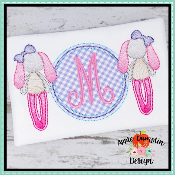 Rag Bunny Girl with Circle Applique Design