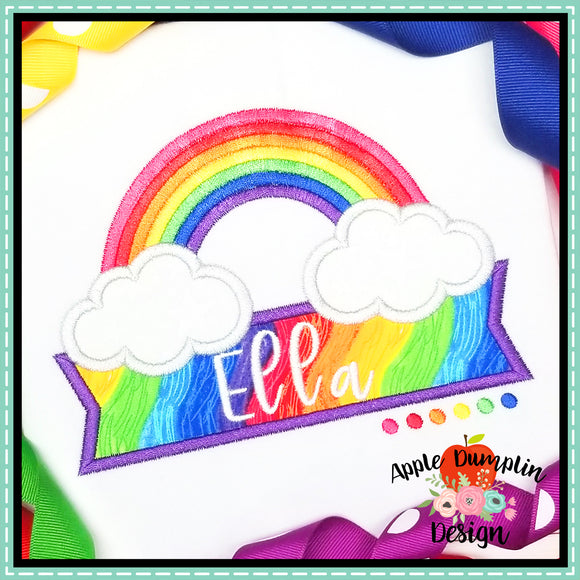 Rainbow with Banner Satin Applique Design-Embroidery Boutique