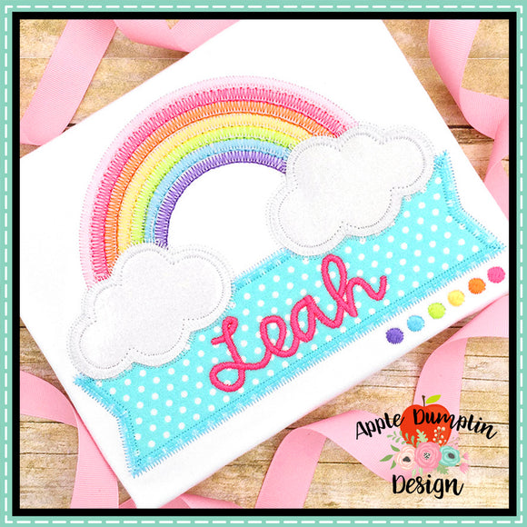 Rainbow with Banner Zigzag Applique Design-Embroidery Boutique
