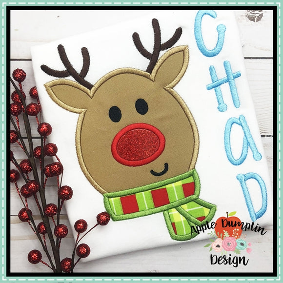 Reindeer Face Applique Design