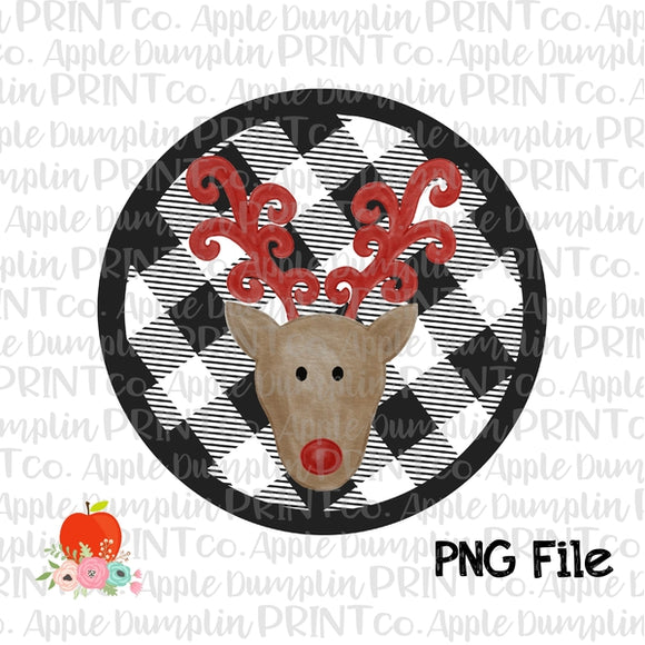 Reindeer with Plaid Background Printable Design PNG