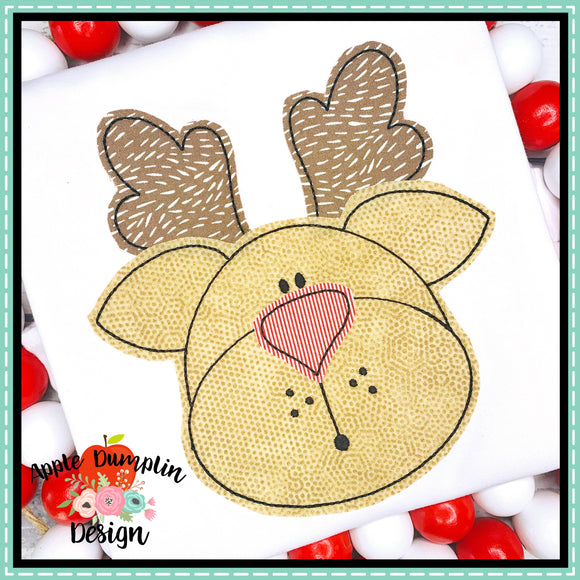 Reindeer Bean Stitch Applique Design, Applique