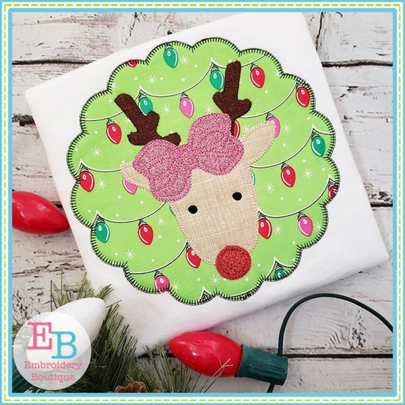 Reindeer Bow Patch Blanket Stitch Applique, Applique