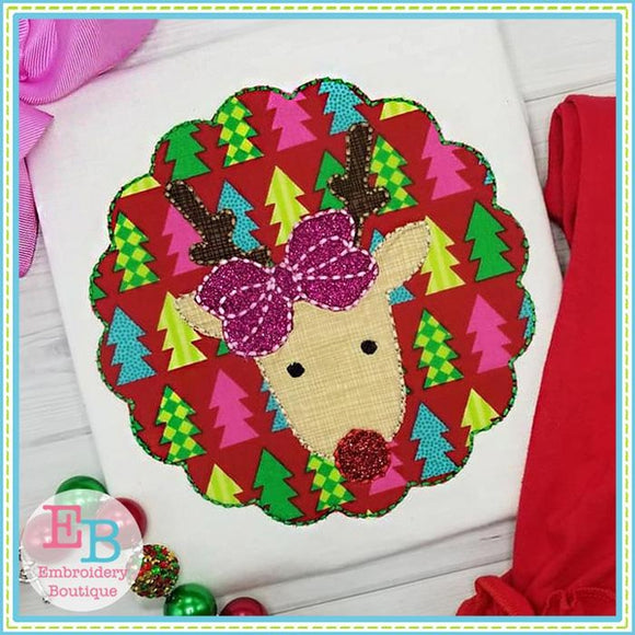 Reindeer Bow Patch Floss Stitch Applique - embroidery-boutique