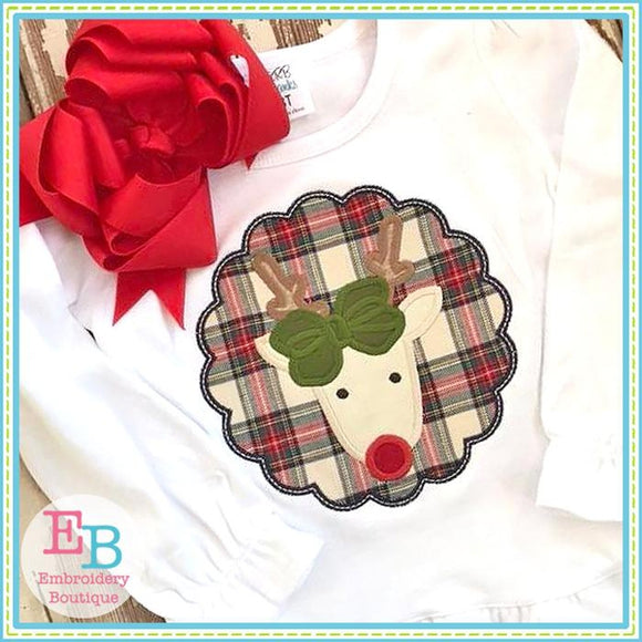 Reindeer Bow Patch Applique - embroidery-boutique