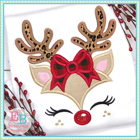 Reindeer Girl Bow Applique - embroidery-boutique