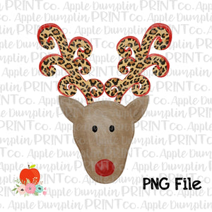 Reindeer with Leopard Antlers Printable Design PNG - embroidery-boutique