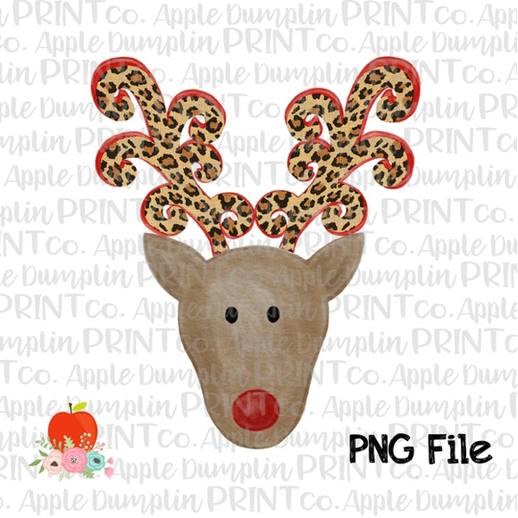 Reindeer with Leopard Antlers Printable Design PNG