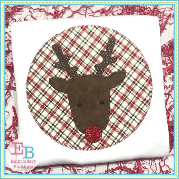 Reindeer Patch Blanket Stitch Applique - embroidery-boutique