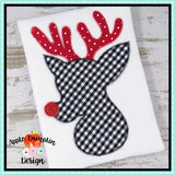 Reindeer Silhouette Zigzag Applique Design, applique