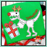 Reindeer T-Rex Bean Stitch Applique  Design, Applique