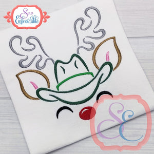 Reindeer Face Boy Cowboy Outline - embroidery-boutique