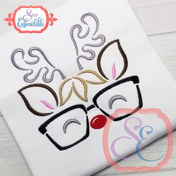 Reindeer Face Boy Glasses Outline, Embroidery