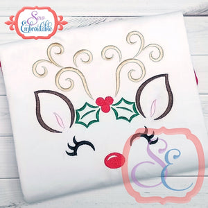 Reindeer Face Girl with Holly Outline - embroidery-boutique